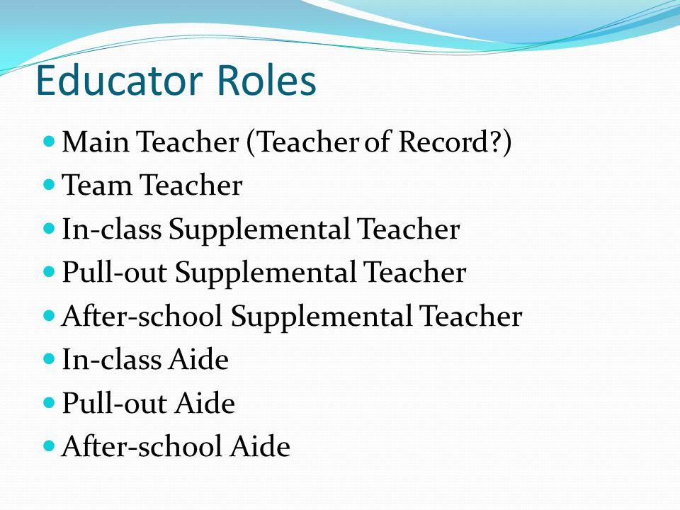 Educator Roles Main Teacher (Teacher of Record?) Team Teacher In-class Supplemental Teacher Pull-out Supplemental Teacher After-school Supplemental Teacher In-class Aide Pull-out Aide After-school Aide
