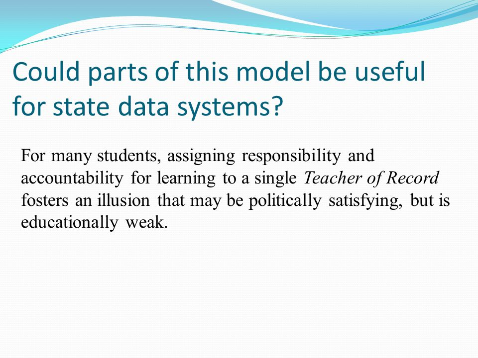 Could parts of this model be useful for state data systems.