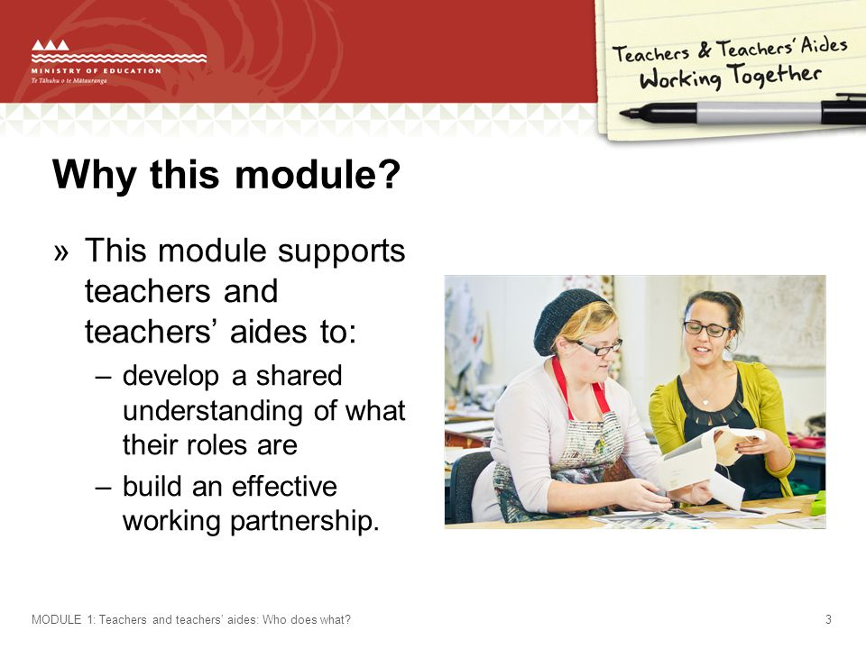 Why this module? »This module supports teachers and teachers' aides to: –develop a shared understanding of what their roles are –build an effective wo