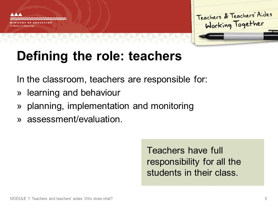 Defining the role: teachers In the classroom, teachers are responsible for: »learning and behaviour »planning, implementation and monitoring »assessment/evaluation.