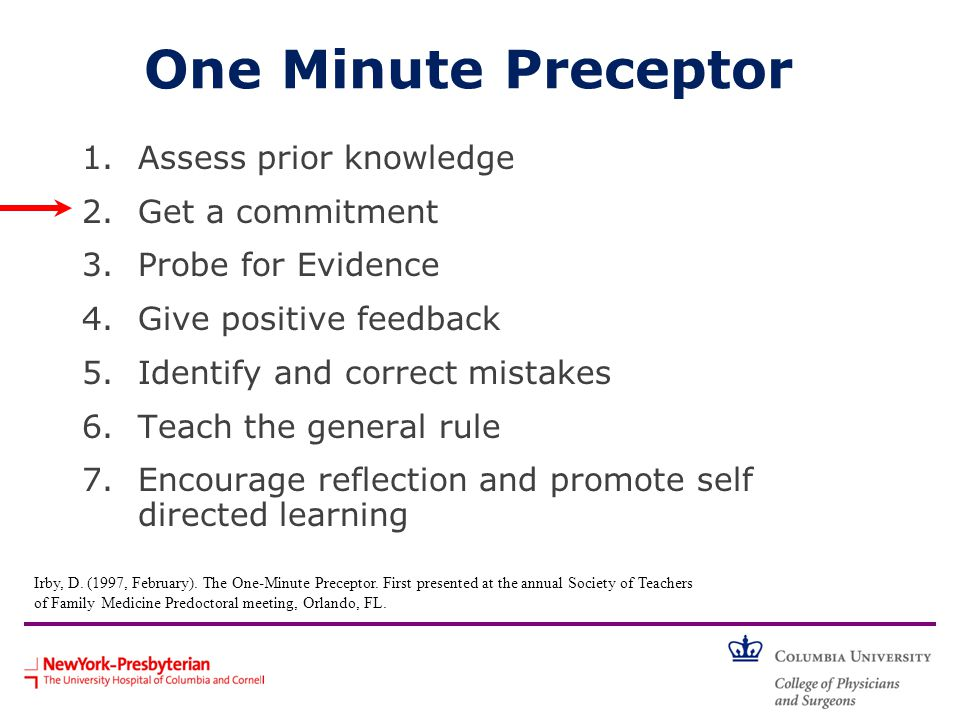 One Minute Preceptor 1.Assess prior knowledge 2.Get a commitment 3.Probe for Evidence 4.Give positive feedback 5.Identify and correct mistakes 6.Teach