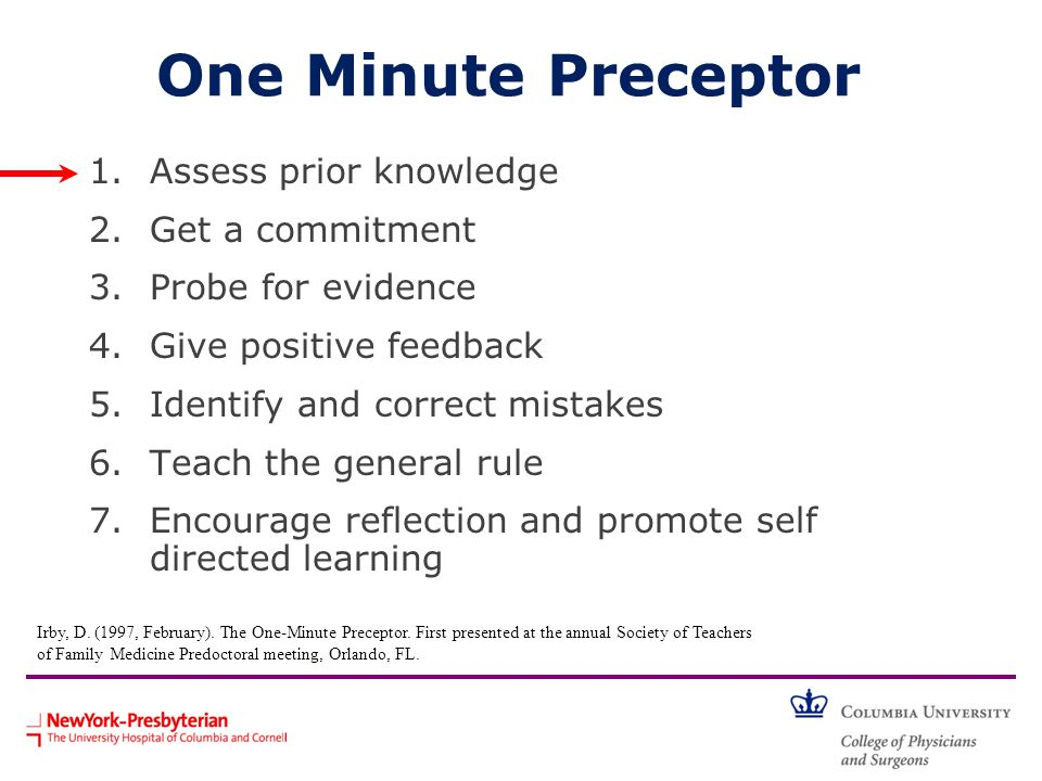 One Minute Preceptor 1.Assess prior knowledge 2.Get a commitment 3.Probe for evidence 4.Give positive feedback 5.Identify and correct mistakes 6.Teach the general rule 7.Encourage reflection and promote self directed learning Irby, D.