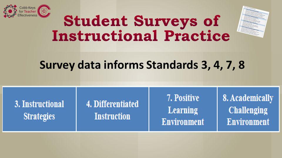 Survey data informs Standards 3, 4, 7, 8
