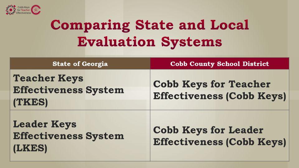 State of GeorgiaCobb County School District Teacher Keys Effectiveness System (TKES) Cobb Keys for Teacher Effectiveness (Cobb Keys) Leader Keys Effectiveness System (LKES) Cobb Keys for Leader Effectiveness (Cobb Keys)