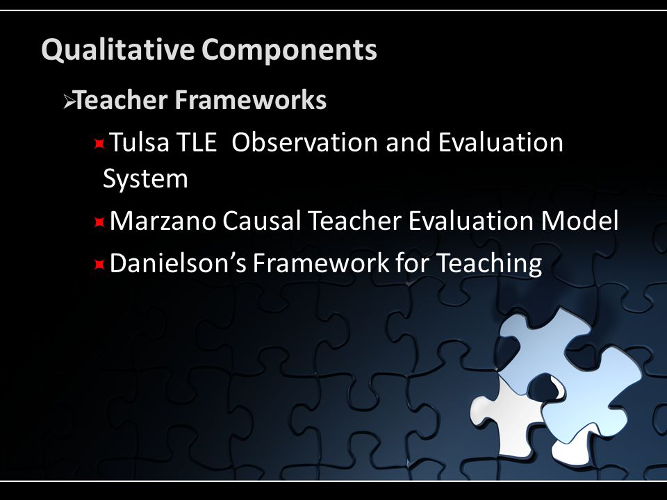 Qualitative Components  Teacher Frameworks  Tulsa TLE Observation and Evaluation System  Marzano Causal Teacher Evaluation Model  Danielson's Framework for Teaching