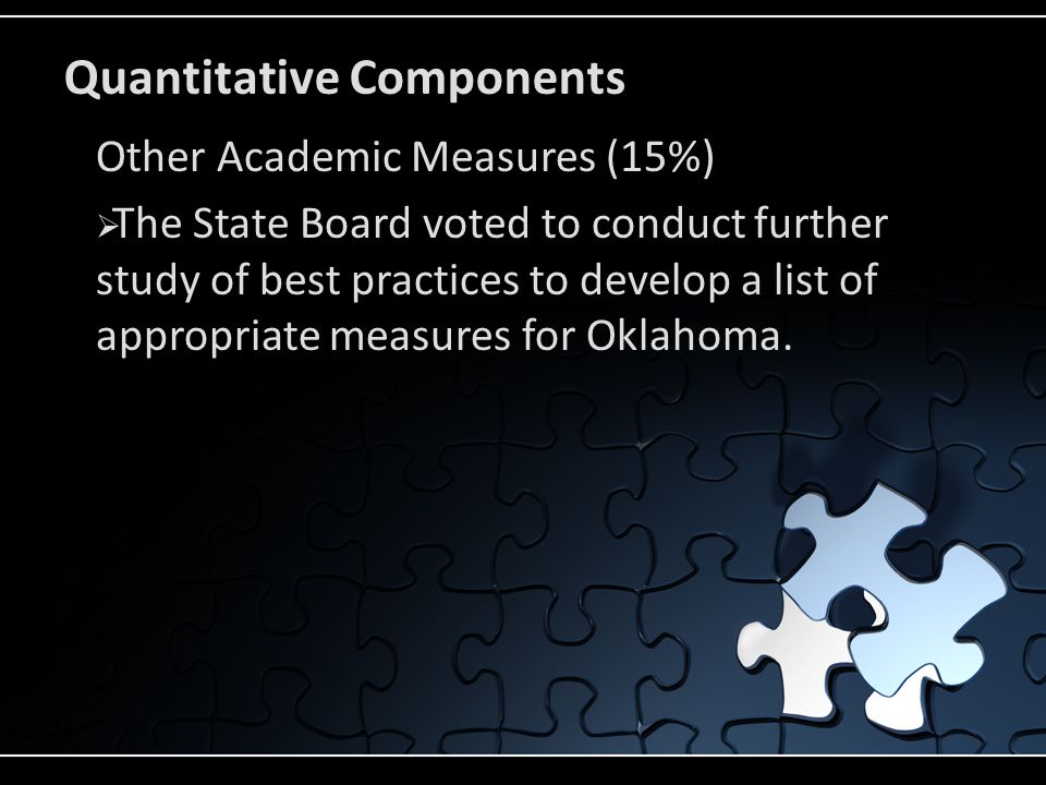 Quantitative Components Other Academic Measures (15%)  The State Board voted to conduct further study of best practices to develop a list of appropriate measures for Oklahoma.