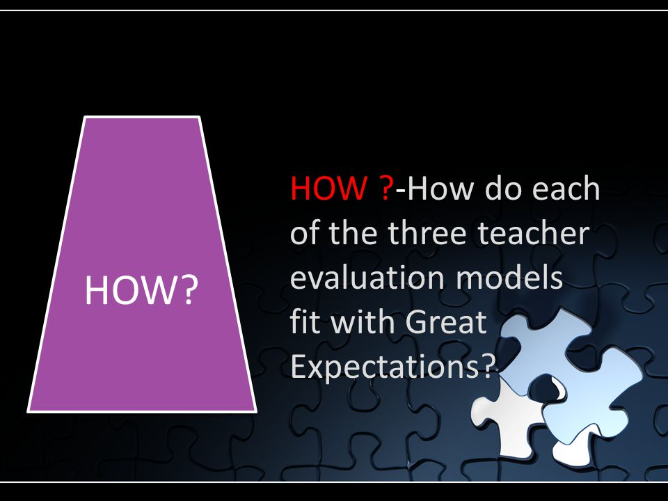 HOW -How do each of the three teacher evaluation models fit with Great Expectations HOW