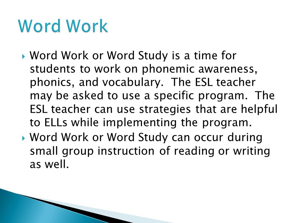  Word Work or Word Study is a time for students to work on phonemic awareness, phonics, and vocabulary.