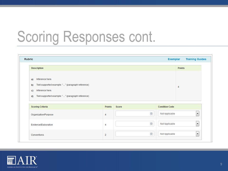 Scoring Responses cont. 9