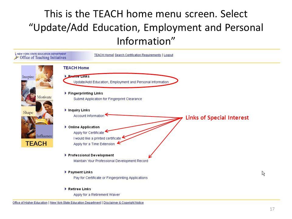 This is the TEACH home menu screen.
