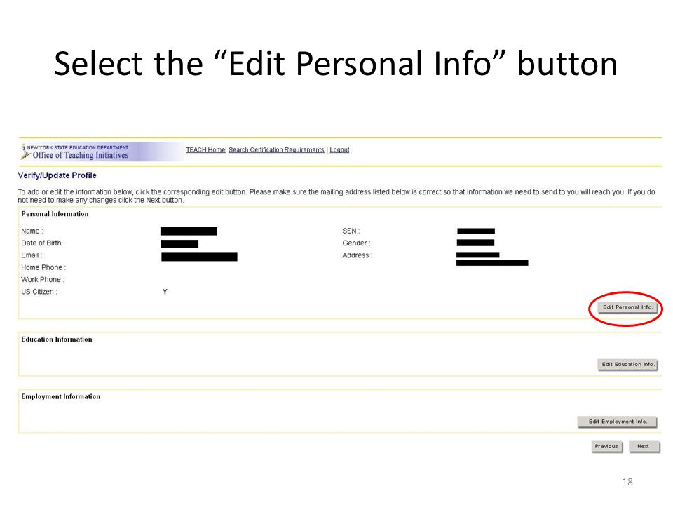 Select the Edit Personal Info button 18