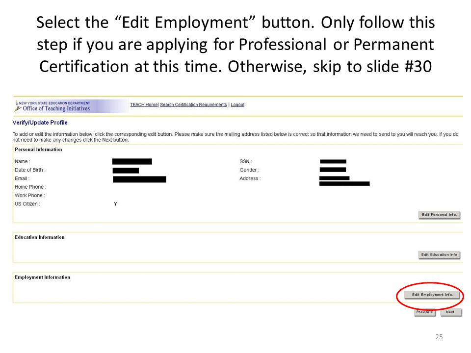 Select the Edit Employment button.
