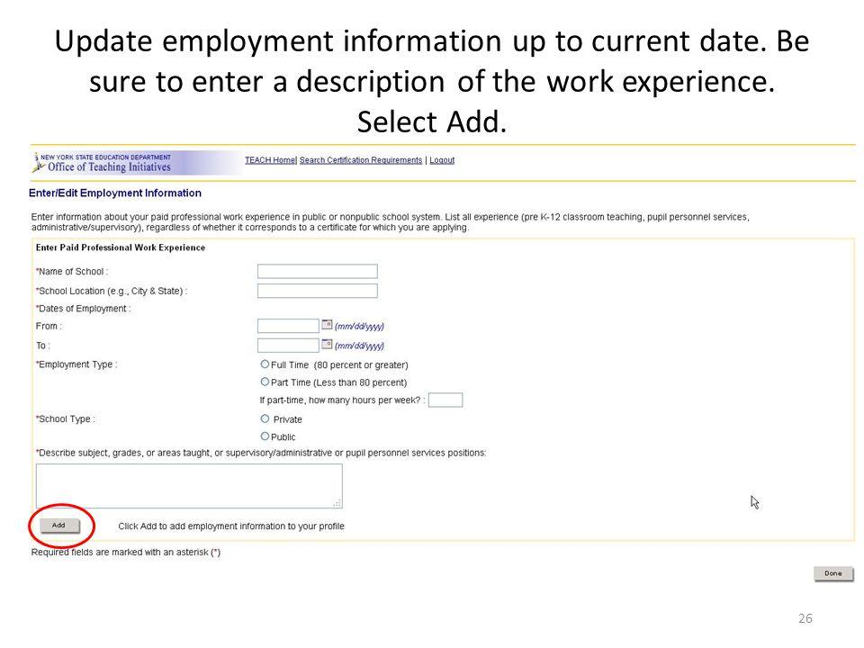 Update employment information up to current date.