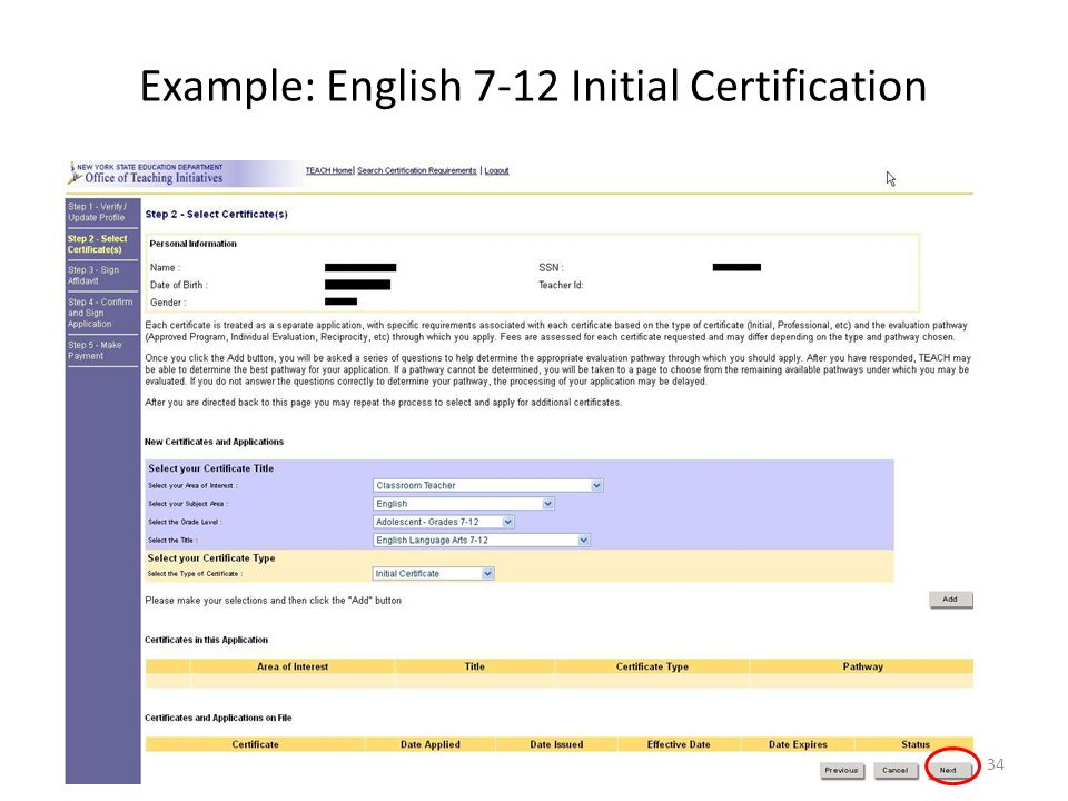 Example: English 7-12 Initial Certification 34