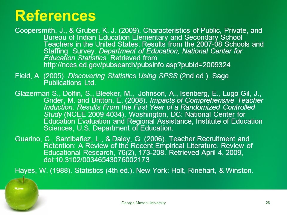 References Coopersmith, J., & Gruber, K. J. (2009).