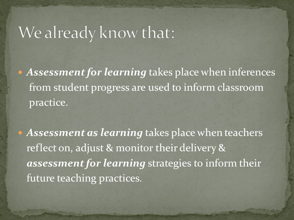 Assessment for learning takes place when inferences from student progress are used to inform classroom practice. Assessment as learning takes place wh