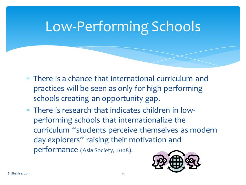  There is a chance that international curriculum and practices will be seen as only for high performing schools creating an opportunity gap.