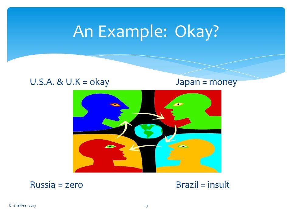 U.S.A. & U.K = okayJapan = money Russia = zeroBrazil = insult B. Shaklee, 201319 An Example: Okay