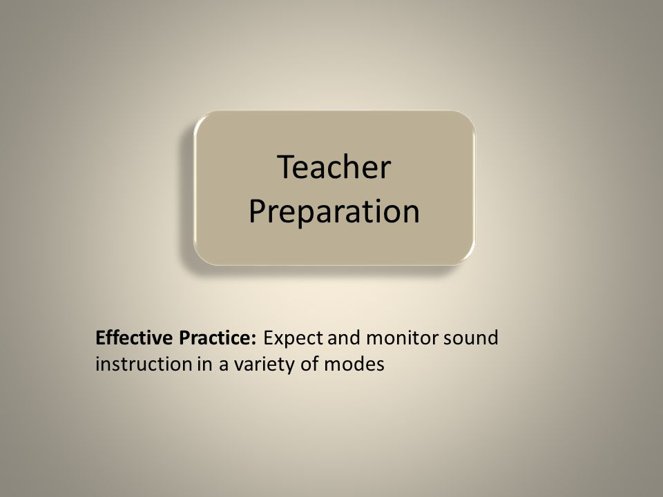 Teacher Preparation Effective Practice: Expect and monitor sound instruction in a variety of modes