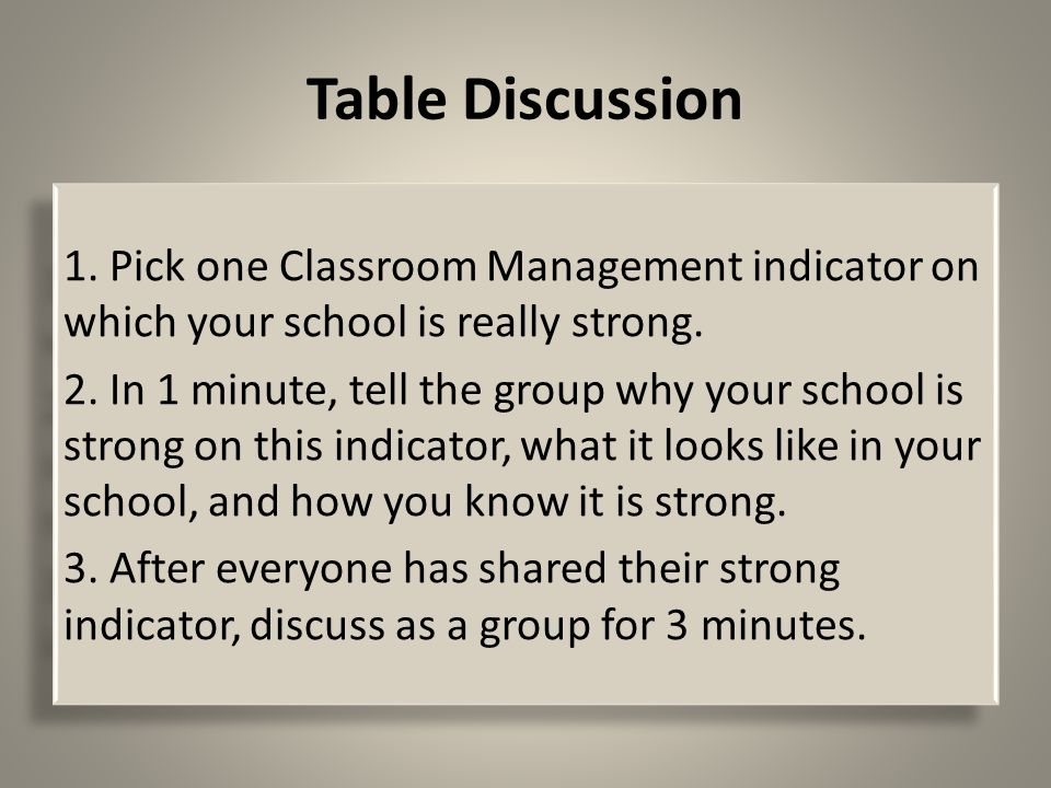 Table Discussion 1. Pick one Classroom Management indicator on which your school is really strong.