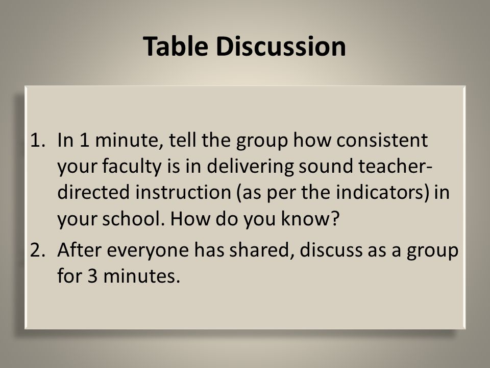 Table Discussion 1.In 1 minute, tell the group how consistent your faculty is in delivering sound teacher- directed instruction (as per the indicators) in your school.