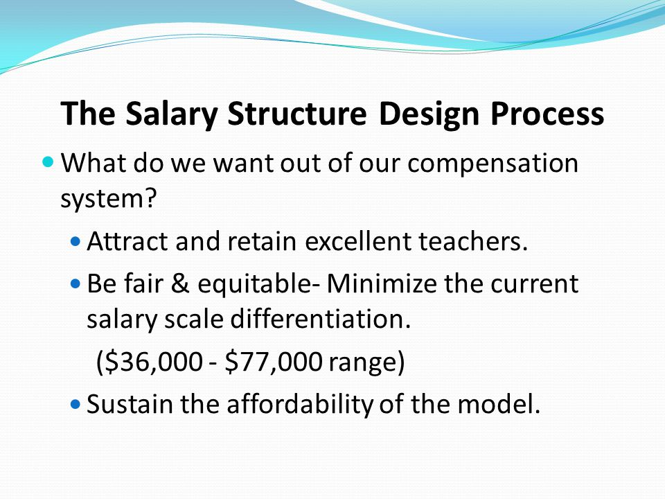 The Salary Structure Design Process What do we want out of our compensation system? Attract and retain excellent teachers. Be fair & equitable- Minimi