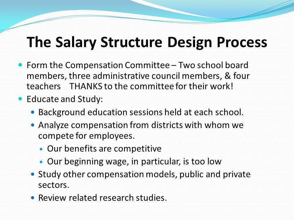 The Salary Structure Design Process Form the Compensation Committee – Two school board members, three administrative council members, & four teachers