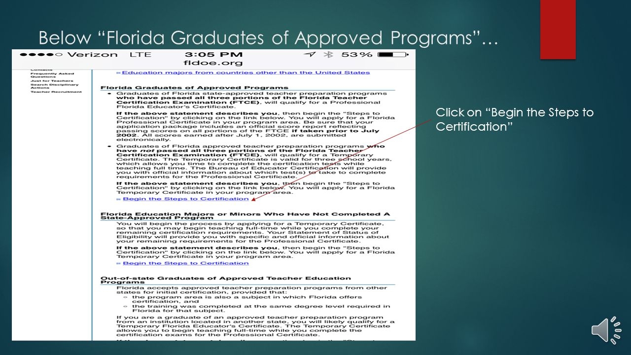 """Then you will… Click on """"Florida graduates of approved programs"""""""