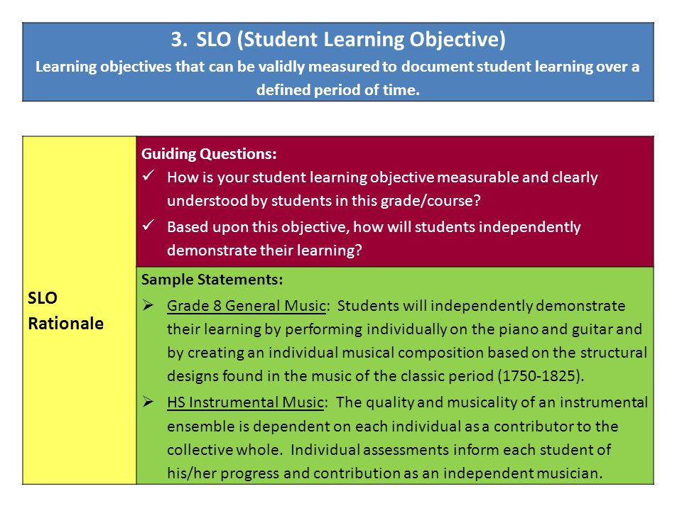 SLO Rationale Guiding Questions: How is your student learning objective measurable and clearly understood by students in this grade/course? Based upon