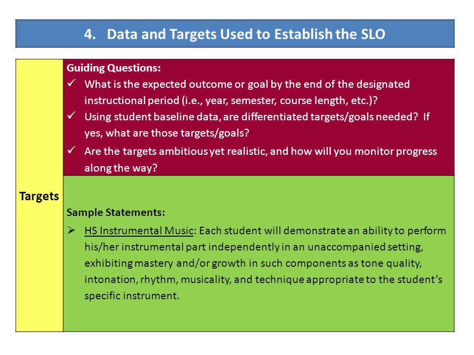 Targets Guiding Questions: What is the expected outcome or goal by the end of the designated instructional period (i.e., year, semester, course length