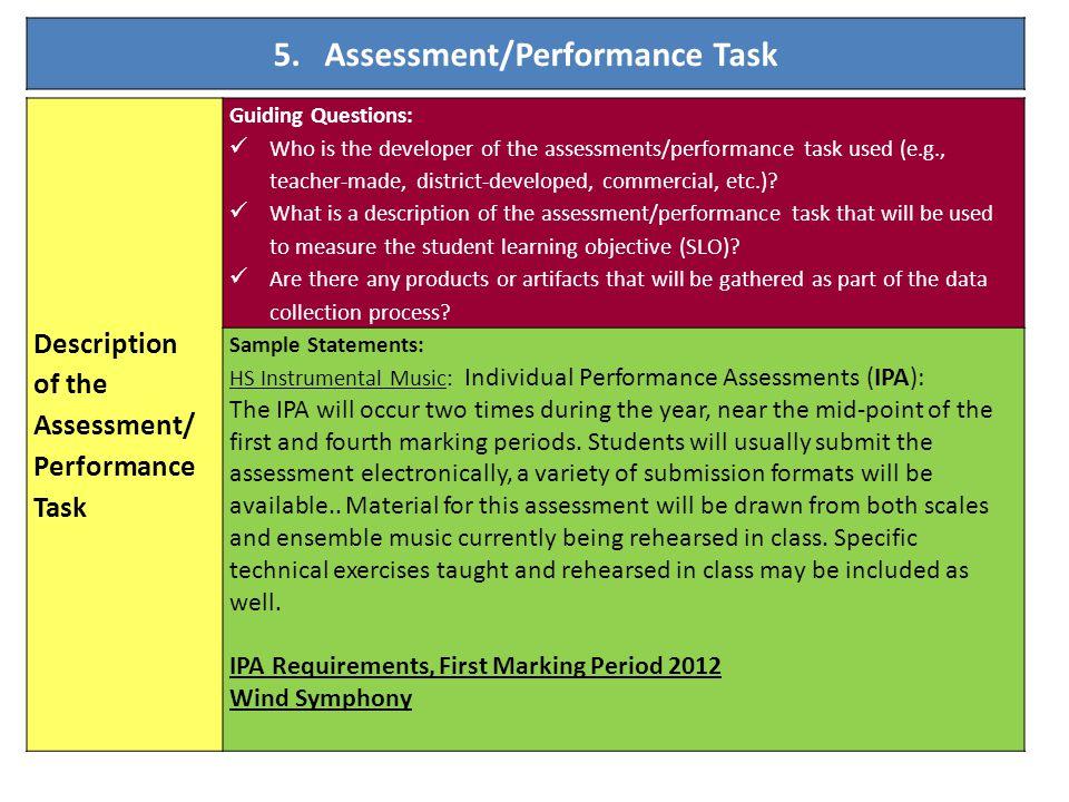 5. Assessment/Performance Task Description of the Assessment/ Performance Task Guiding Questions: Who is the developer of the assessments/performance