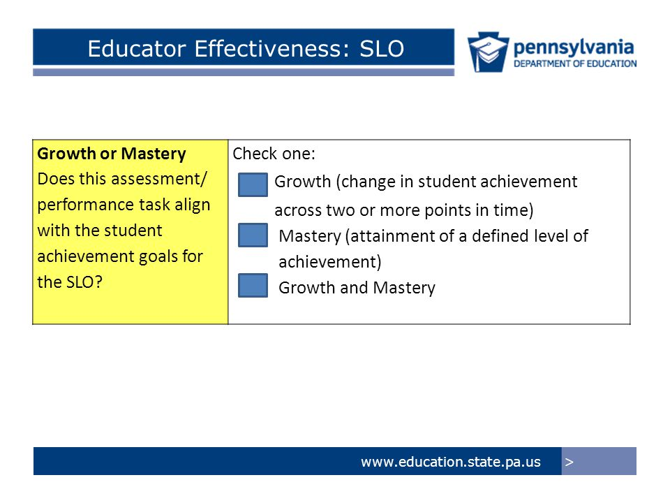Growth or Mastery Does this assessment/ performance task align with the student achievement goals for the SLO? Check one: Growth (change in student ac