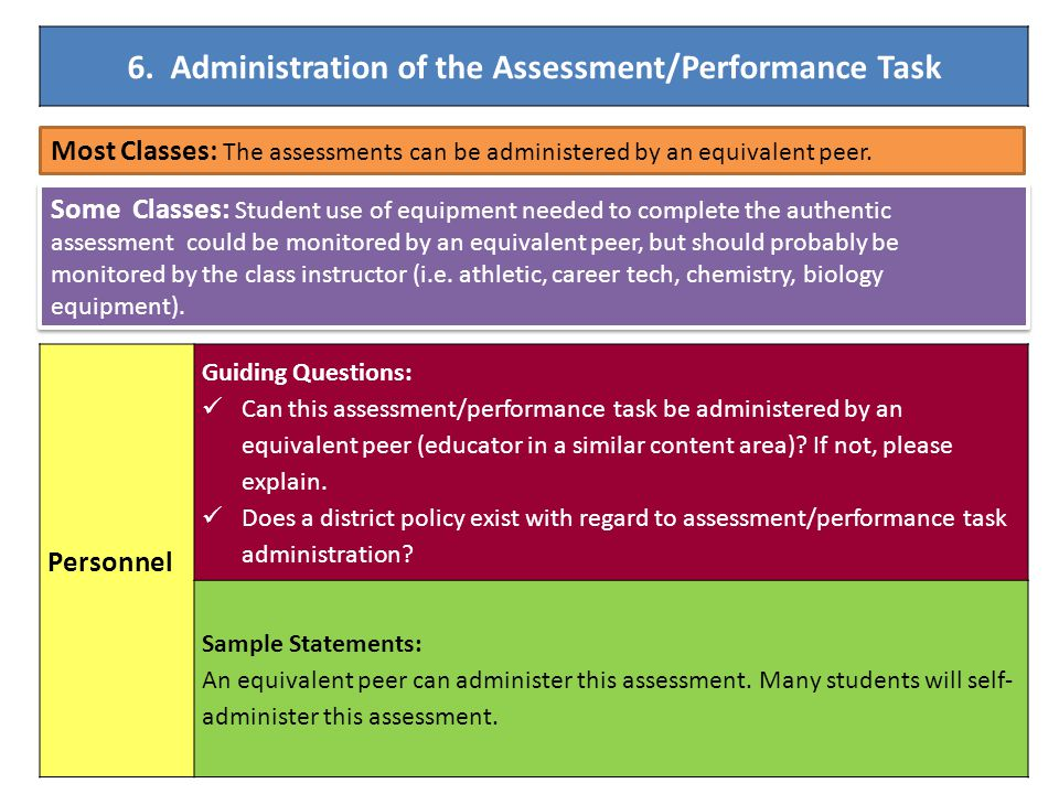 Most Classes: The assessments can be administered by an equivalent peer. Some Classes: Student use of equipment needed to complete the authentic asses