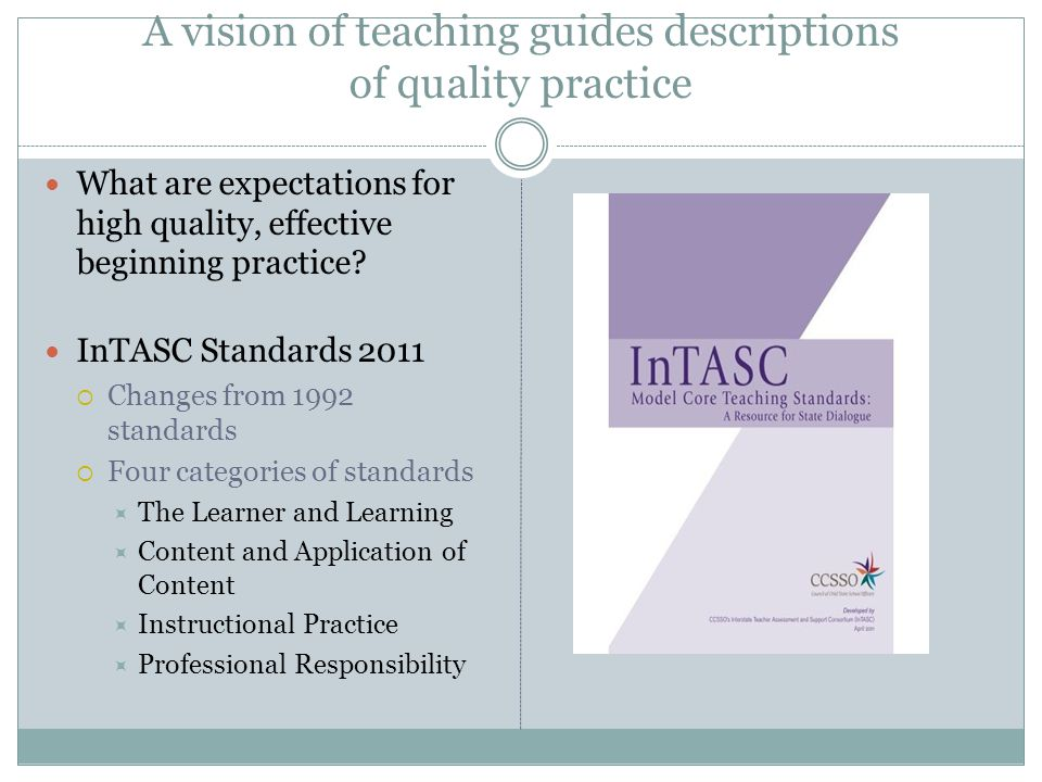 A vision of teaching guides descriptions of quality practice What are expectations for high quality, effective beginning practice.