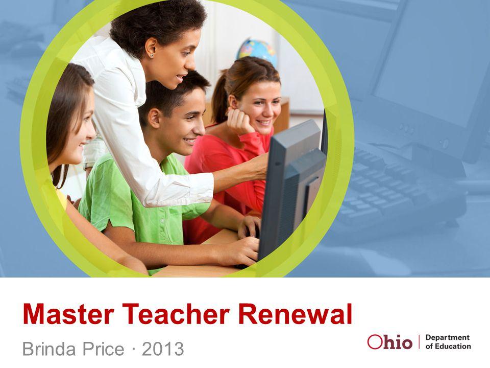 Master Teacher Renewal Brinda Price ∙ 2013