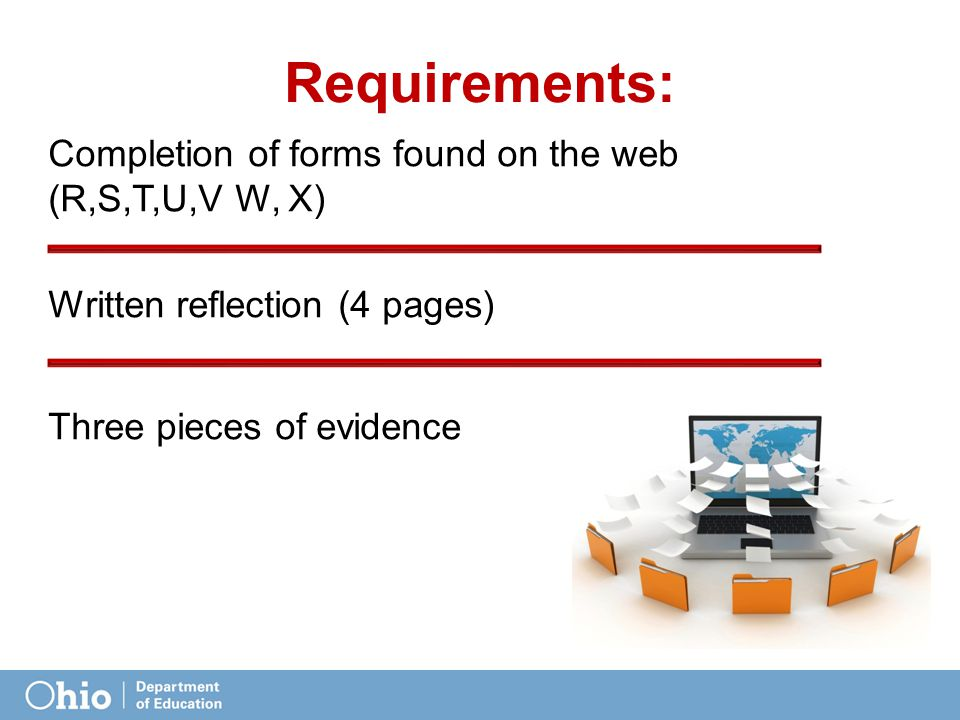 Requirements: Completion of forms found on the web (R,S,T,U,V W, X) Written reflection (4 pages) Three pieces of evidence