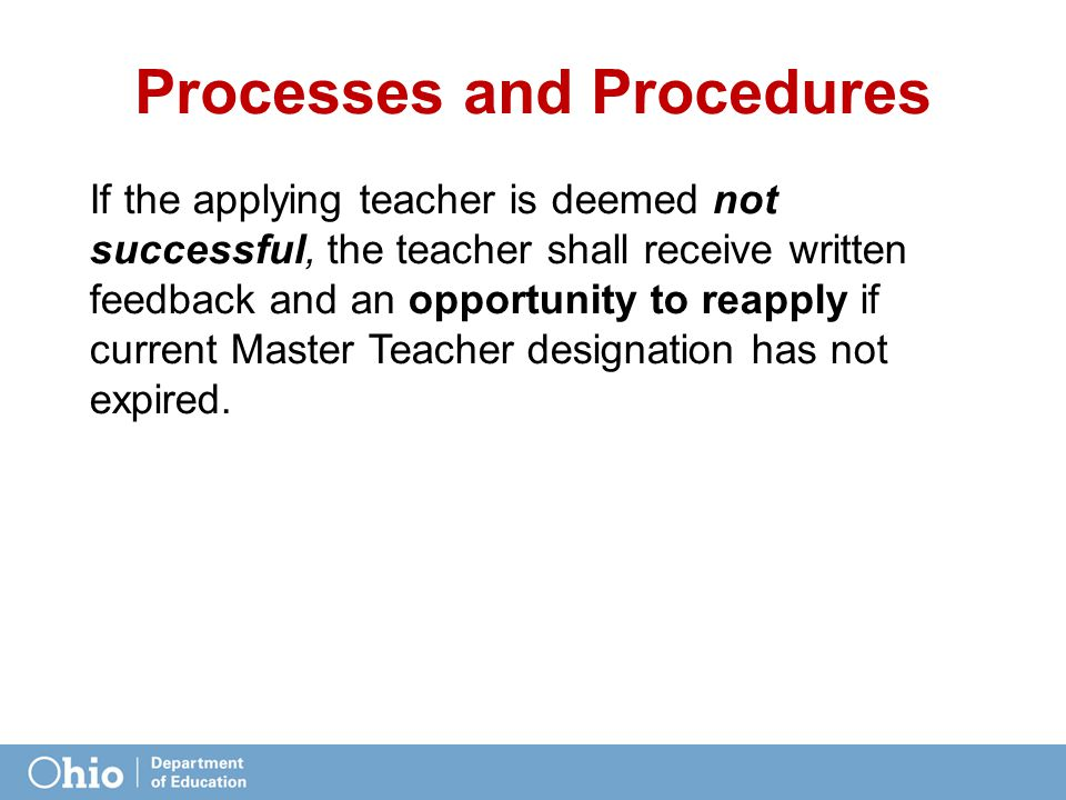 Each committee will establish an appeal process for teachers Processes and Procedures