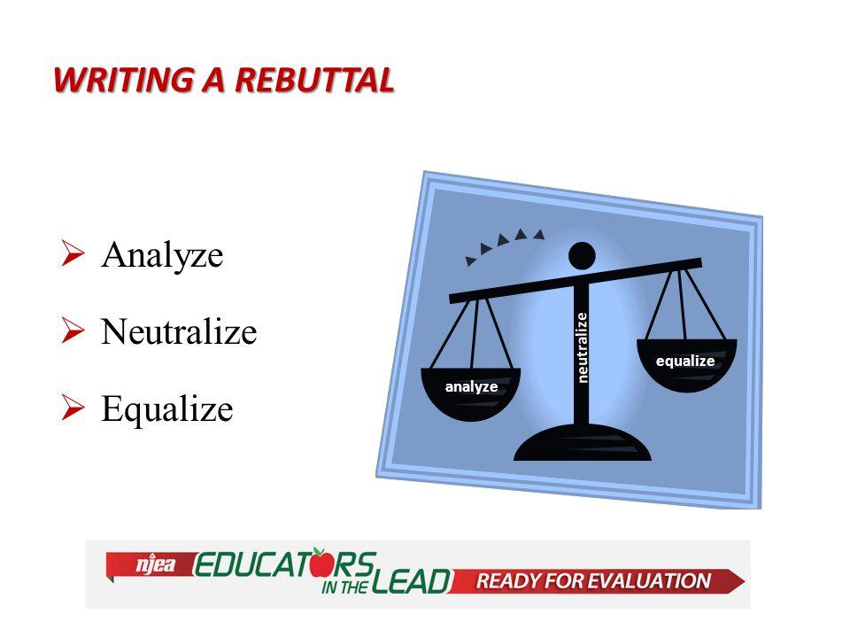 WRITING A REBUTTAL  Analyze  Neutralize  Equalize analyze equalize neutralize