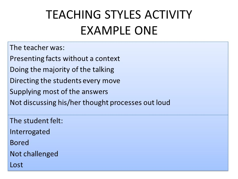TEACHING STYLES ACTIVITY EXAMPLE ONE
