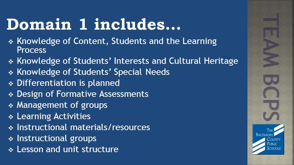 Domain 1 includes…  Knowledge of Content, Students and the Learning Process  Knowledge of Students' Interests and Cultural Heritage  Knowledge of Students' Special Needs  Differentiation is planned  Design of Formative Assessments  Management of groups  Learning Activities  Instructional materials/resources  Instructional groups  Lesson and unit structure