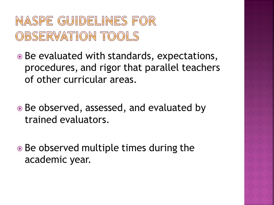  Be evaluated with standards, expectations, procedures, and rigor that parallel teachers of other curricular areas.