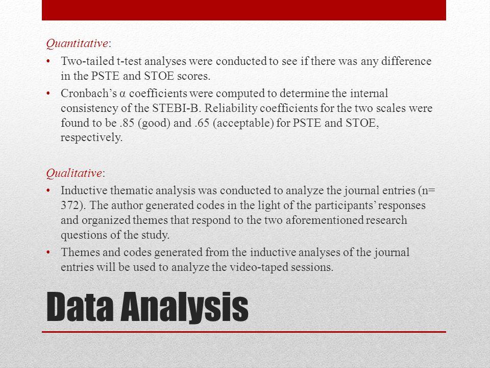 Quantitative: STEBI-B Pre-TestPost-Test N t MeanSDMeanSD PSTE_Pre37.4844.47942.6933.8946210.90** STOE_Pre27.8712.67028.6722.357612.29** Table 1.