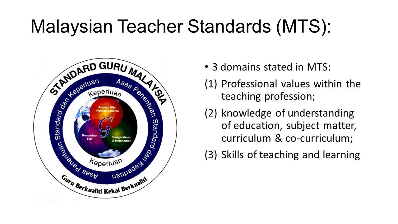 Malaysian Teacher Standards (MTS): 3 domains stated in MTS: (1)Professional values within the teaching profession; (2)knowledge of understanding of education, subject matter, curriculum & co-curriculum; (3)Skills of teaching and learning