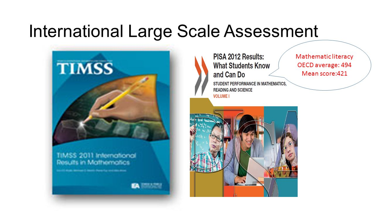 International Large Scale Assessment Mathematic literacy OECD average: 494 Mean score:421