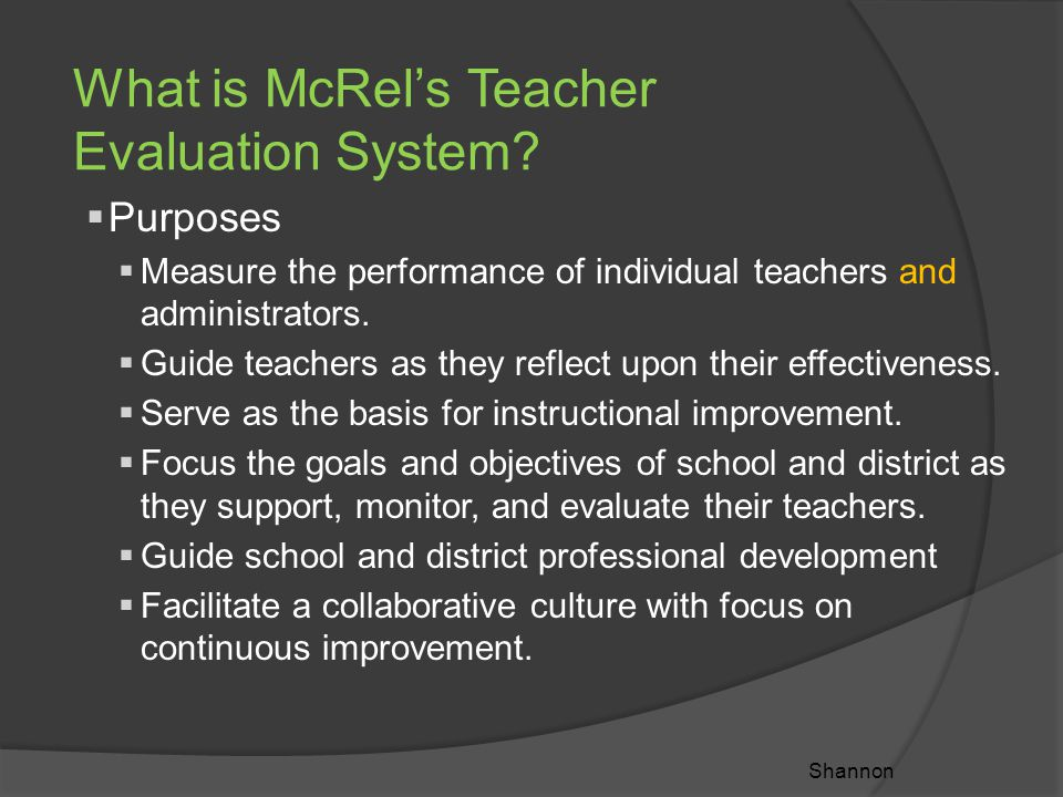 What is McRel's Teacher Evaluation System.