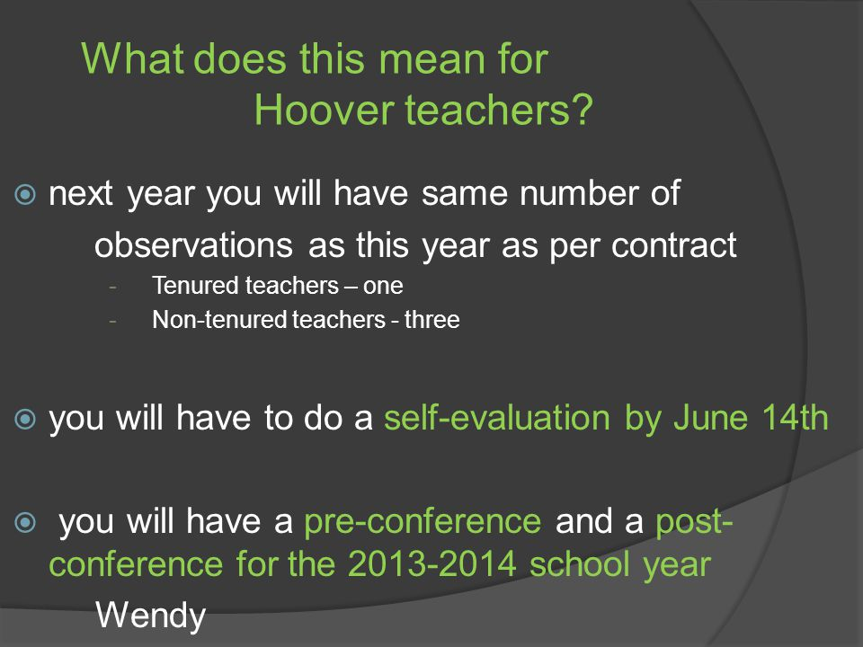What does this mean for Hoover teachers.