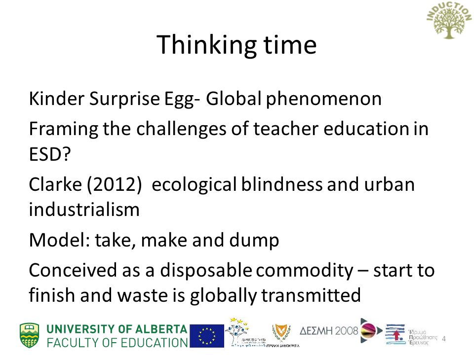 Thinking time Kinder Surprise Egg- Global phenomenon Framing the challenges of teacher education in ESD.