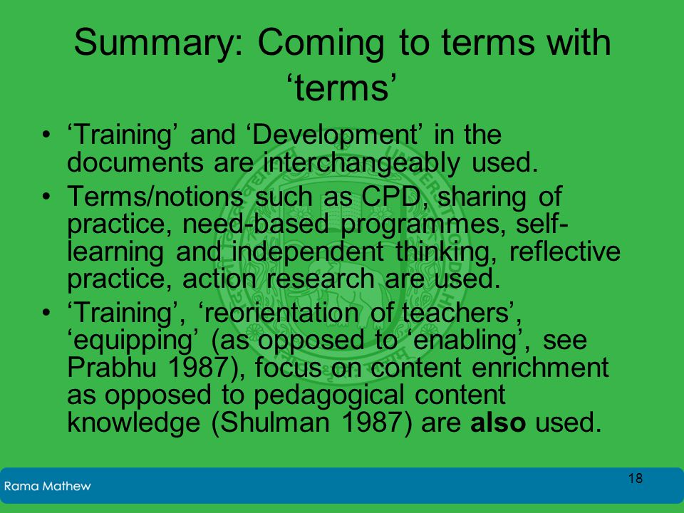 Summary: Coming to terms with 'terms' 'Training' and 'Development' in the documents are interchangeably used.