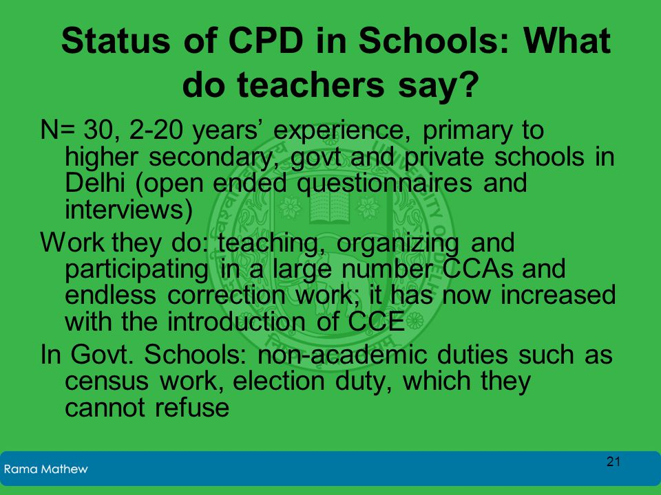 Status of CPD in Schools: What do teachers say? N= 30, 2-20 years' experience, primary to higher secondary, govt and private schools in Delhi (open en