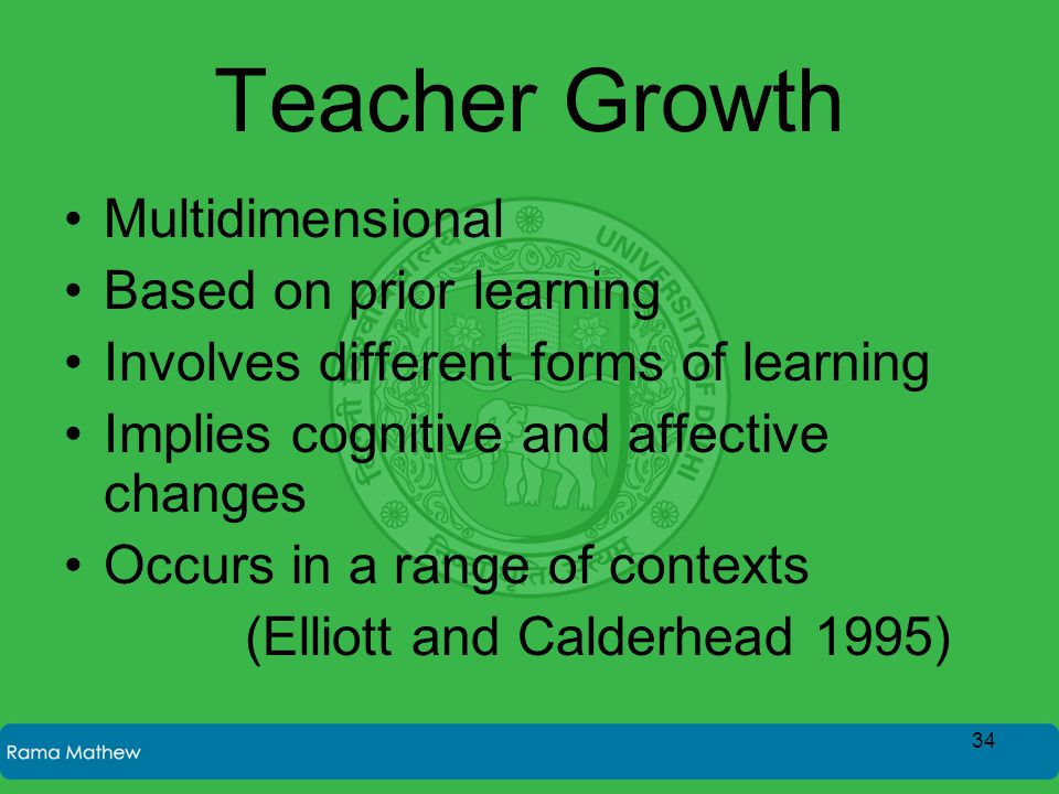 Teacher Growth Multidimensional Based on prior learning Involves different forms of learning Implies cognitive and affective changes Occurs in a range